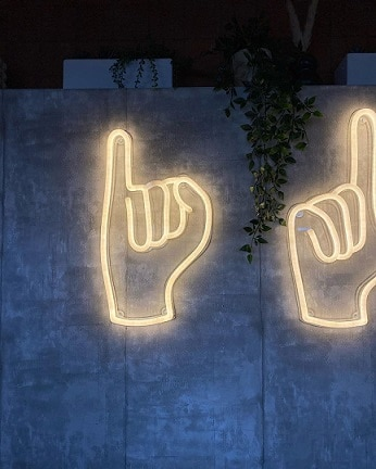 finger neon signs